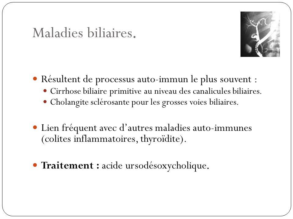 Maladies biliaires. Résultent de processus auto-immun le plus souvent : Cirrhose biliaire primitive au niveau des canalicules biliaires.