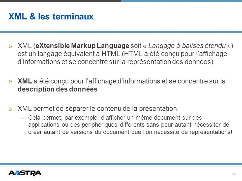 XML & les terminaux