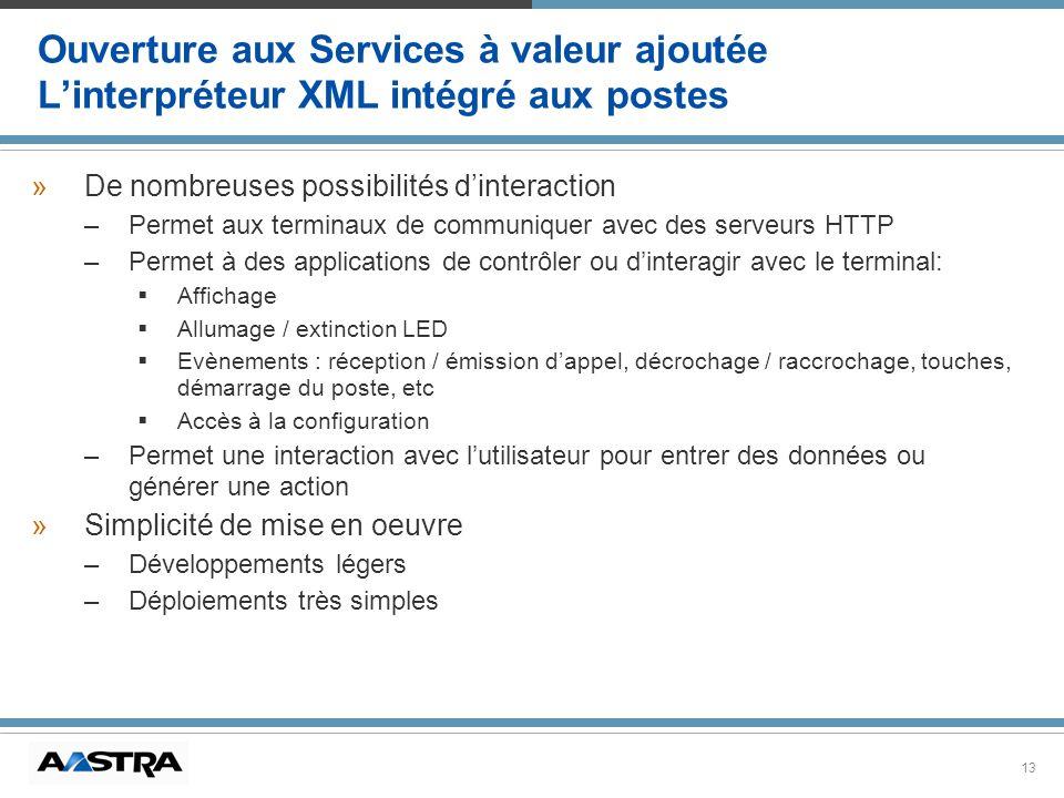 Ouverture aux Services à valeur ajoutée L'interpréteur XML intégré aux postes