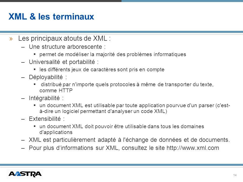 XML & les terminaux Les principaux atouts de XML :