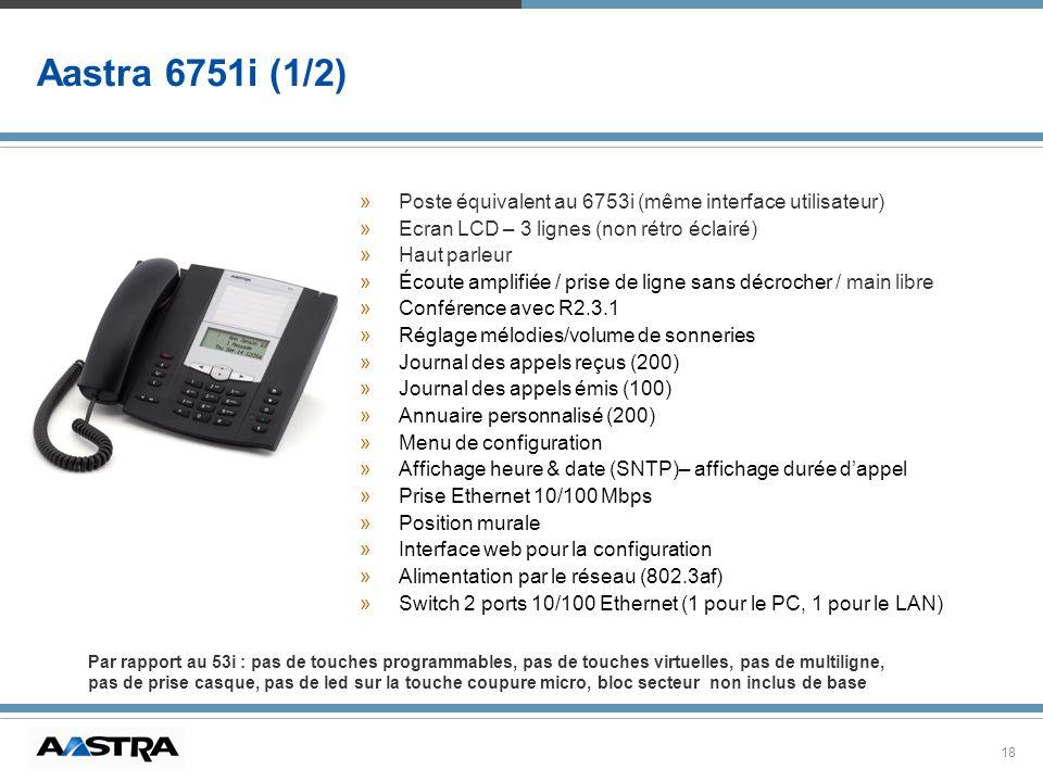 Aastra 6751i (1/2) Poste équivalent au 6753i (même interface utilisateur) Ecran LCD – 3 lignes (non rétro éclairé)