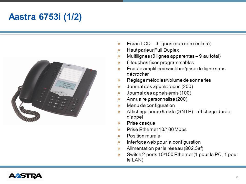 Aastra 6753i (1/2) Ecran LCD – 3 lignes (non rétro éclairé)