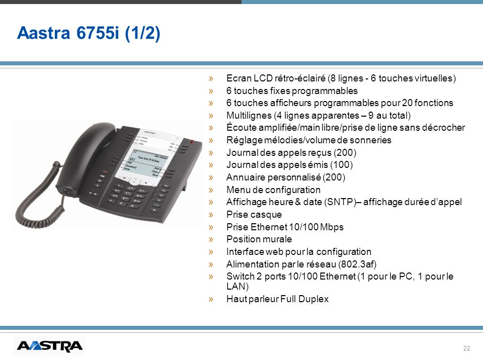 Aastra 6755i (1/2)Ecran LCD rétro-éclairé (8 lignes - 6 touches virtuelles) 6 touches fixes programmables.