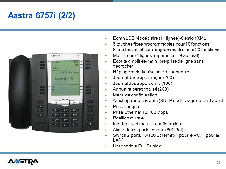 Aastra 6757i (2/2) Ecran LCD rétroéclairé (11 lignes)-Gestion XML