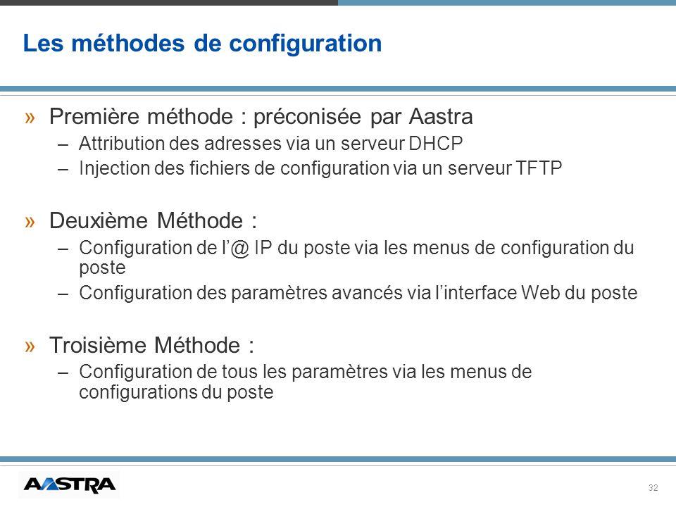 Les méthodes de configuration