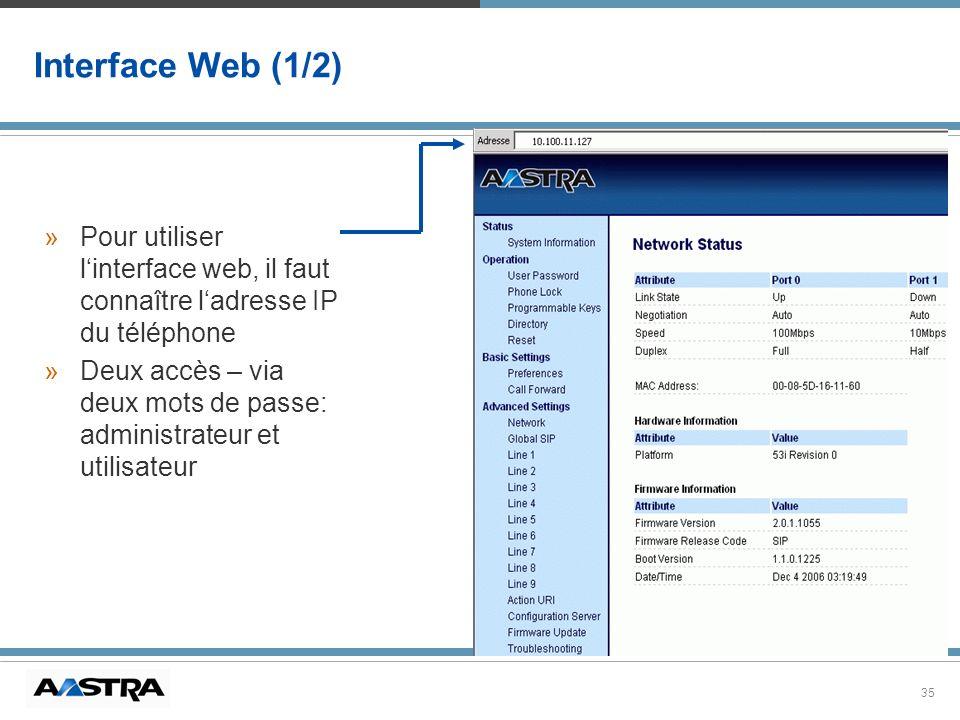 Interface Web (1/2) Pour utiliser l'interface web, il faut connaître l'adresse IP du téléphone.