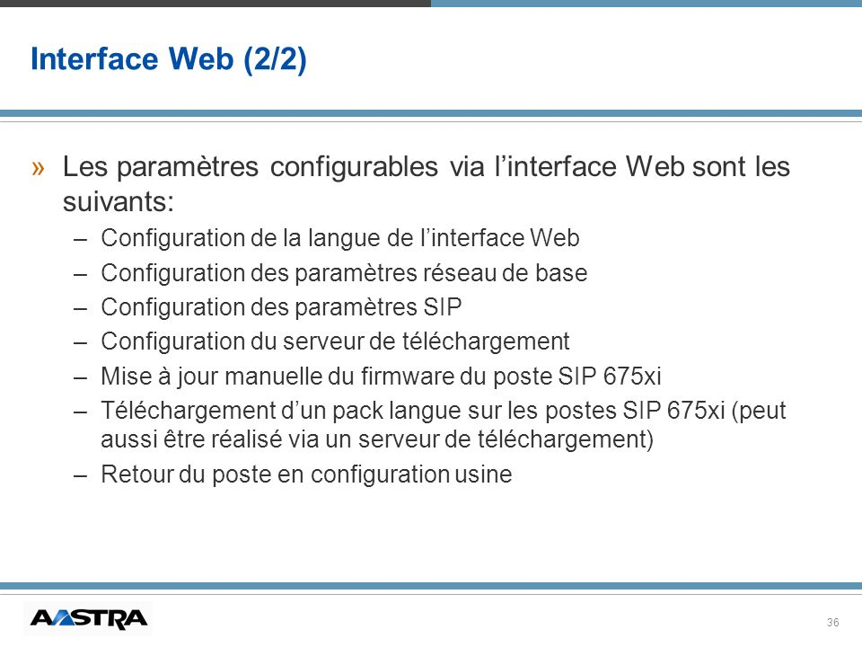 Interface Web (2/2) Les paramètres configurables via l'interface Web sont les suivants: Configuration de la langue de l'interface Web.