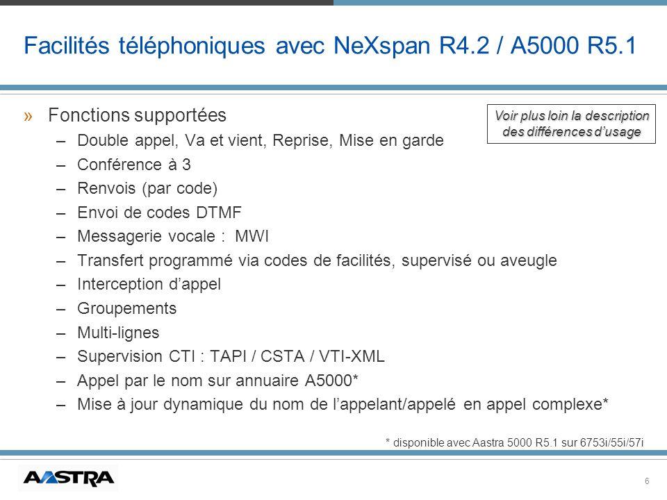 Facilités téléphoniques avec NeXspan R4.2 / A5000 R5.1