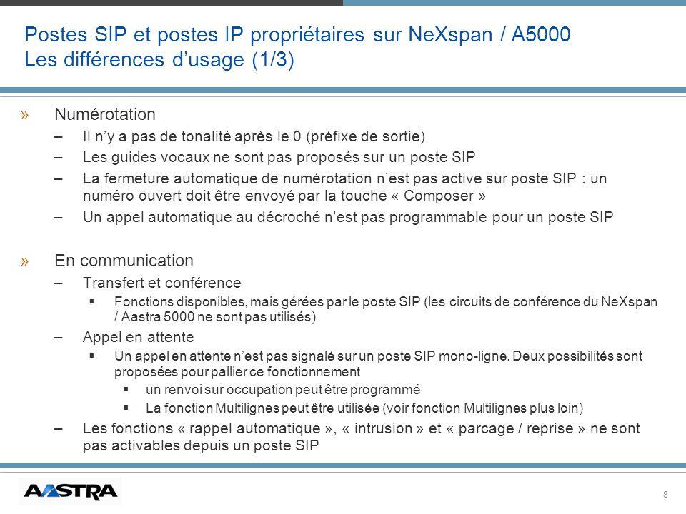 Postes SIP et postes IP propriétaires sur NeXspan / A5000 Les différences d'usage (1/3)