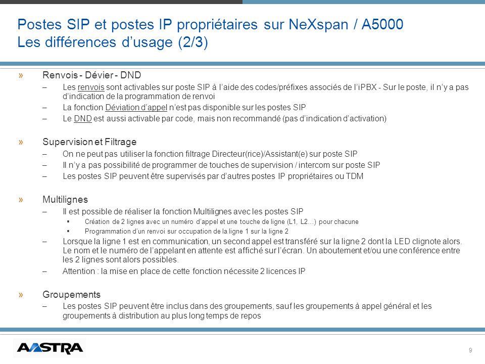 Postes SIP et postes IP propriétaires sur NeXspan / A5000 Les différences d'usage (2/3)