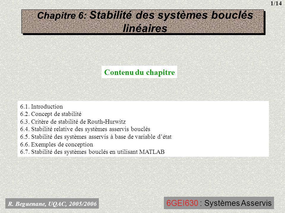 Chapitre 6: Stabilité des systèmes bouclés linéaires