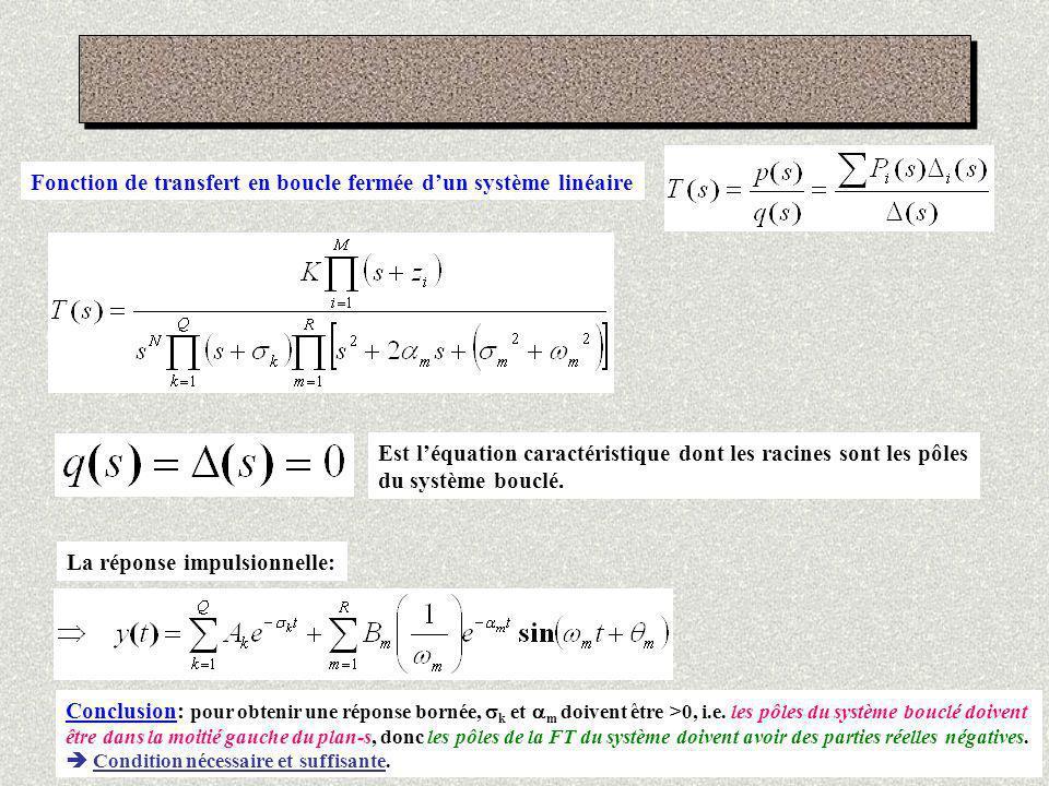 Fonction de transfert en boucle fermée d'un système linéaire