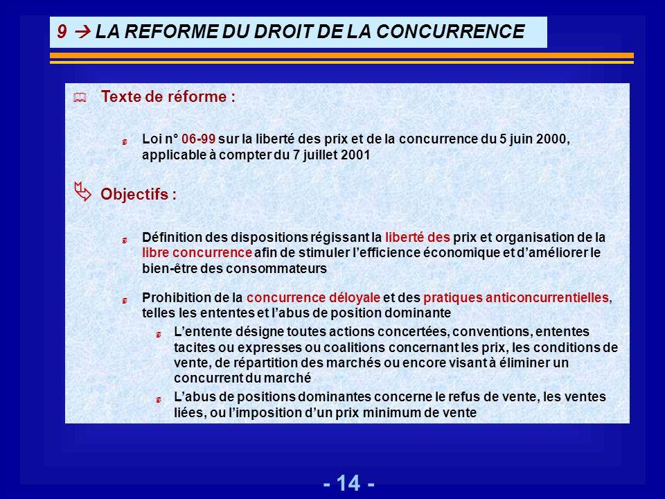 9  LA REFORME DU DROIT DE LA CONCURRENCE
