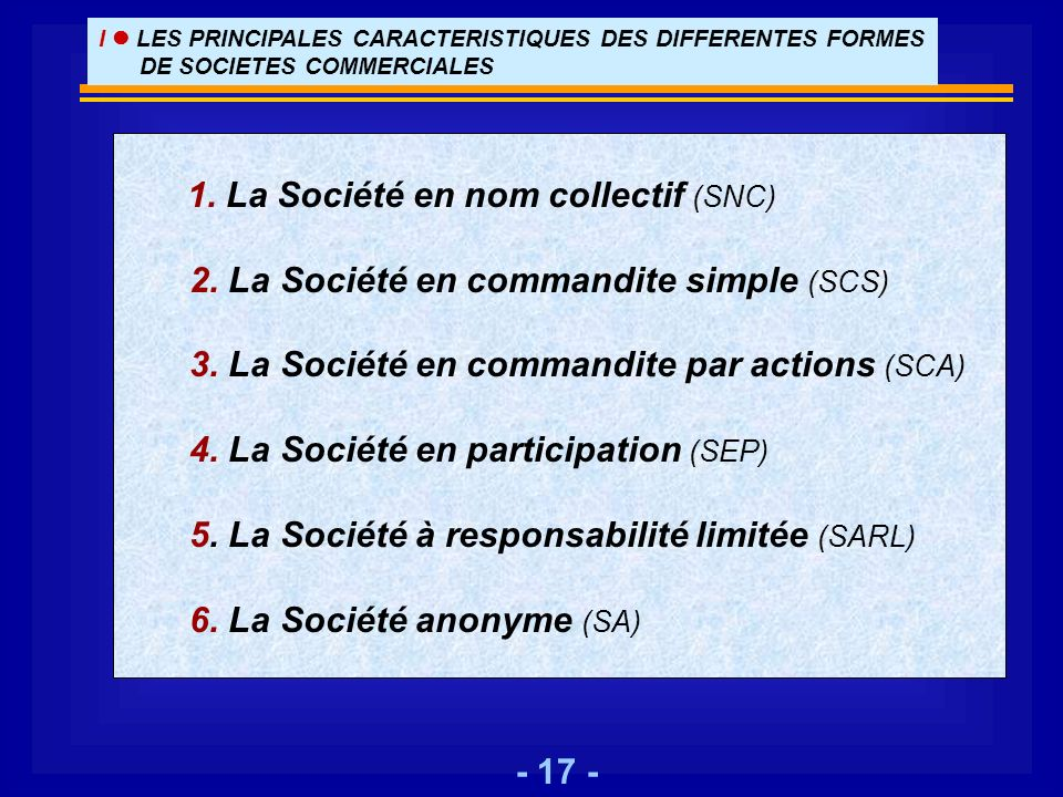 1. La Société en nom collectif (SNC)