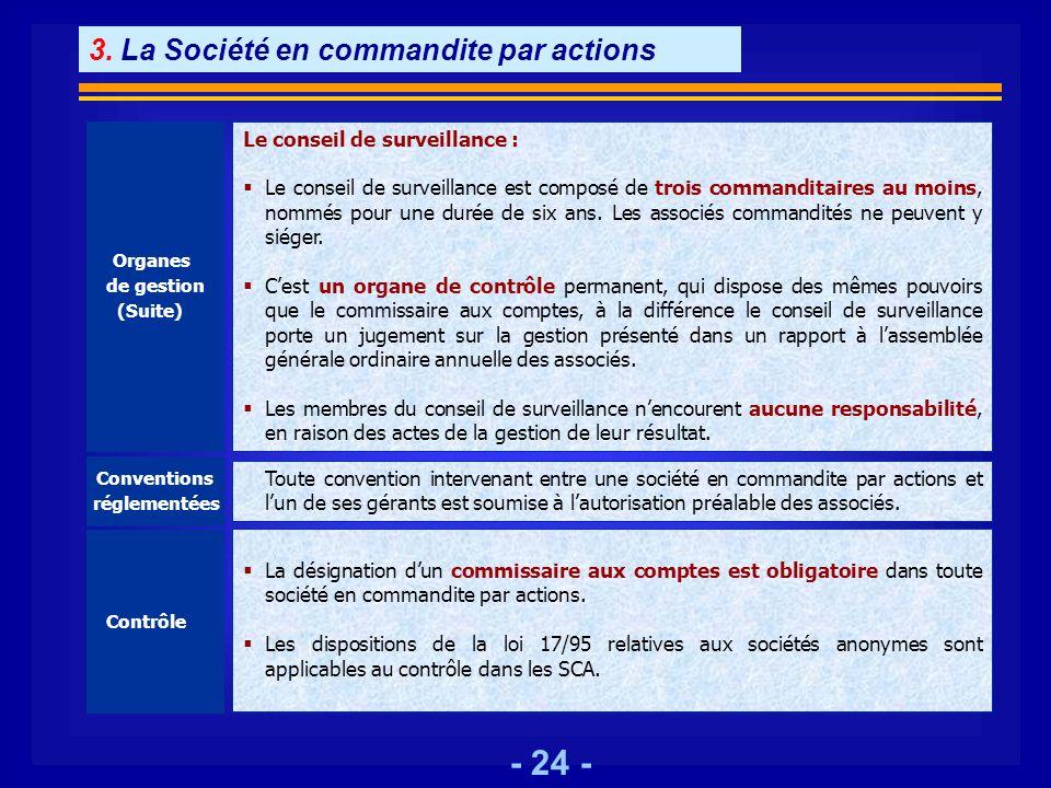3. La Société en commandite par actions