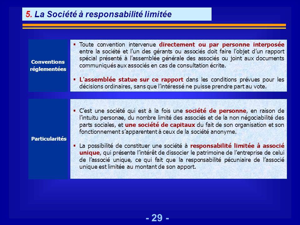 5. La Société à responsabilité limitée