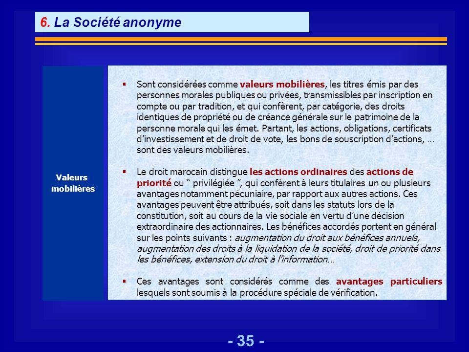 6. La Société anonyme Valeurs. mobilières.