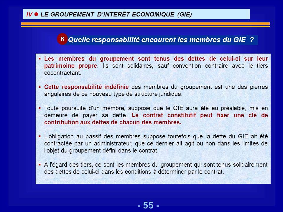 Quelle responsabilité encourent les membres du GIE