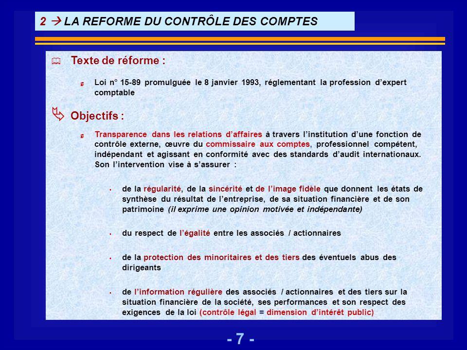 2  LA REFORME DU CONTRÔLE DES COMPTES