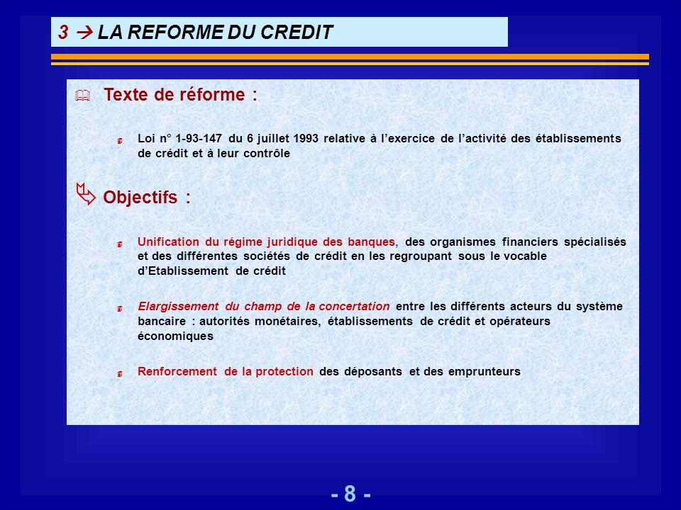 3  LA REFORME DU CREDIT Texte de réforme : Objectifs :