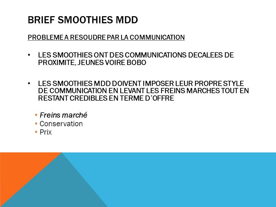 Brief smoothies mdd PROBLEME A RESOUDRE PAR LA COMMUNICATION. LES SMOOTHIES ONT DES COMMUNICATIONS DECALEES DE PROXIMITE, JEUNES VOIRE BOBO.