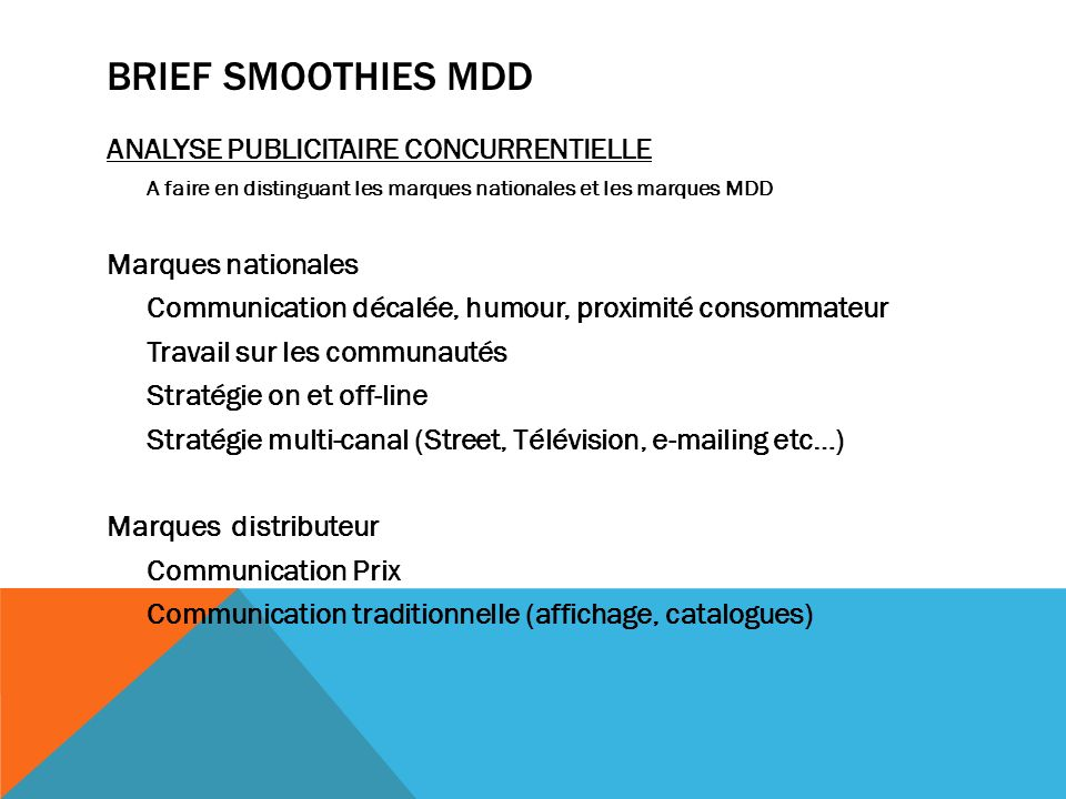 BRIEF SMOOTHIES MDD ANALYSE PUBLICITAIRE CONCURRENTIELLE