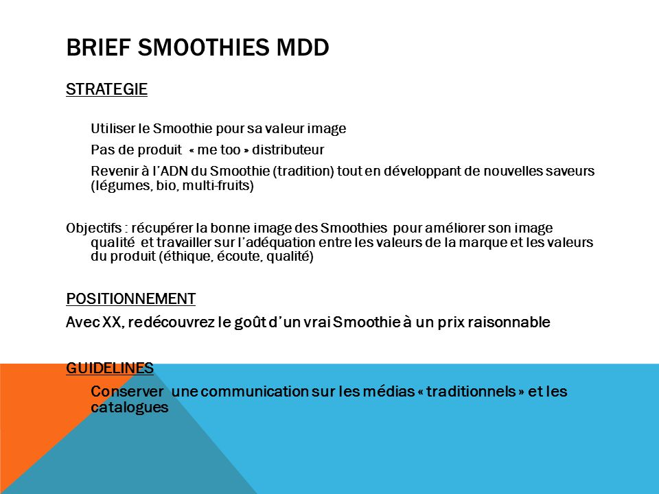 Brief smoothies mdd STRATEGIE POSITIONNEMENT