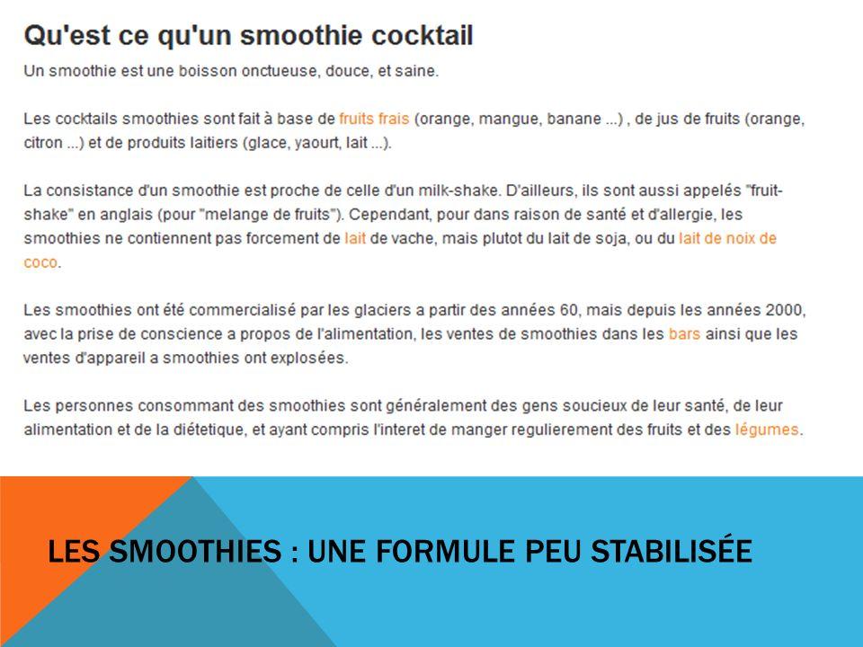 Les Smoothies : une formule peu stabilisée