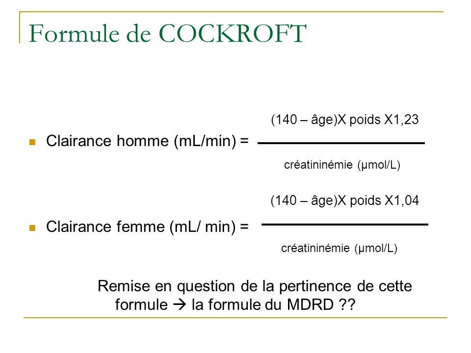 Formule de COCKROFT Clairance homme (mL/min) = créatininémie (µmol/L)