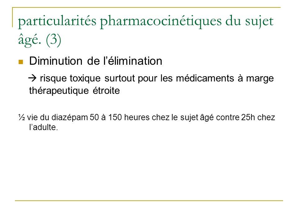 particularités pharmacocinétiques du sujet âgé. (3)