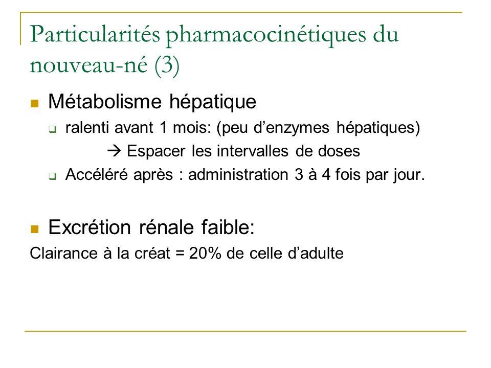 Particularités pharmacocinétiques du nouveau-né (3)