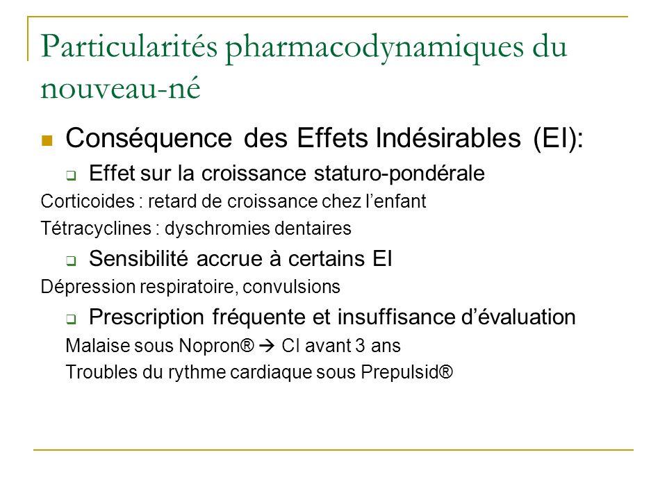 Particularités pharmacodynamiques du nouveau-né