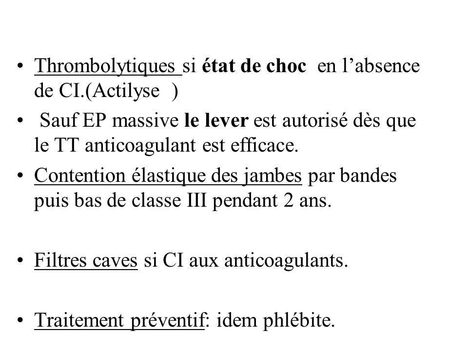 Thrombolytiques si état de choc en l'absence de CI.(Actilyse )