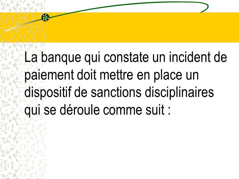 La banque qui constate un incident de paiement doit mettre en place un dispositif de sanctions disciplinaires qui se déroule comme suit :