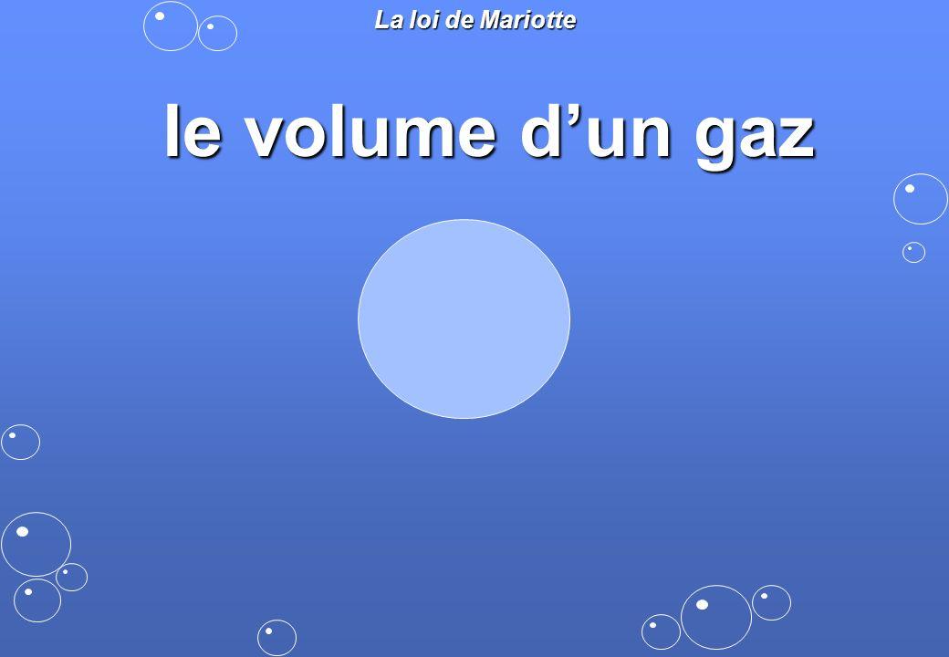 La loi de Mariotte le volume d'un gaz