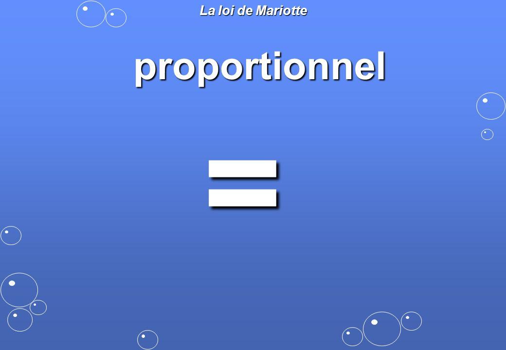 La loi de Mariotte proportionnel =