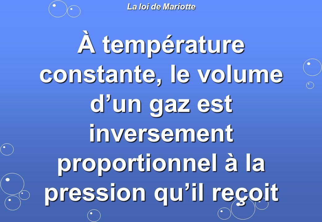 La loi de Mariotte À température constante, le volume d'un gaz est inversement proportionnel à la pression qu'il reçoit.