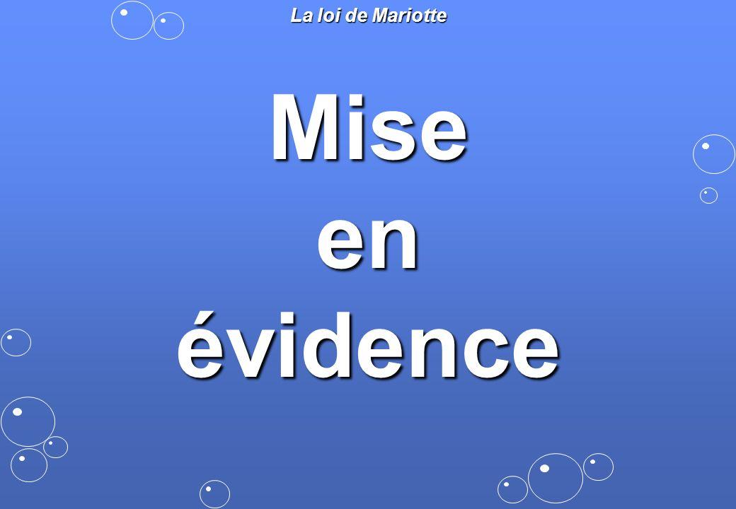 La loi de Mariotte Mise en évidence