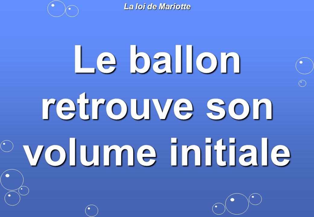 Le ballon retrouve son volume initiale