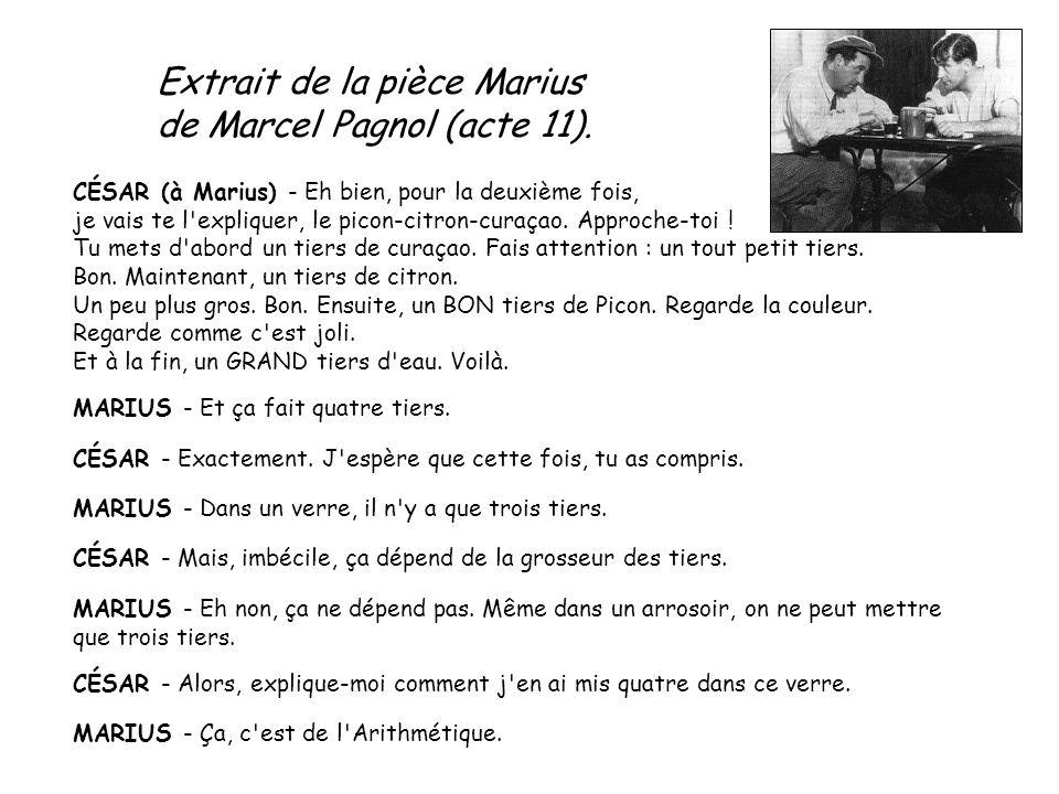 Extrait de la pièce Marius de Marcel Pagnol (acte 11).
