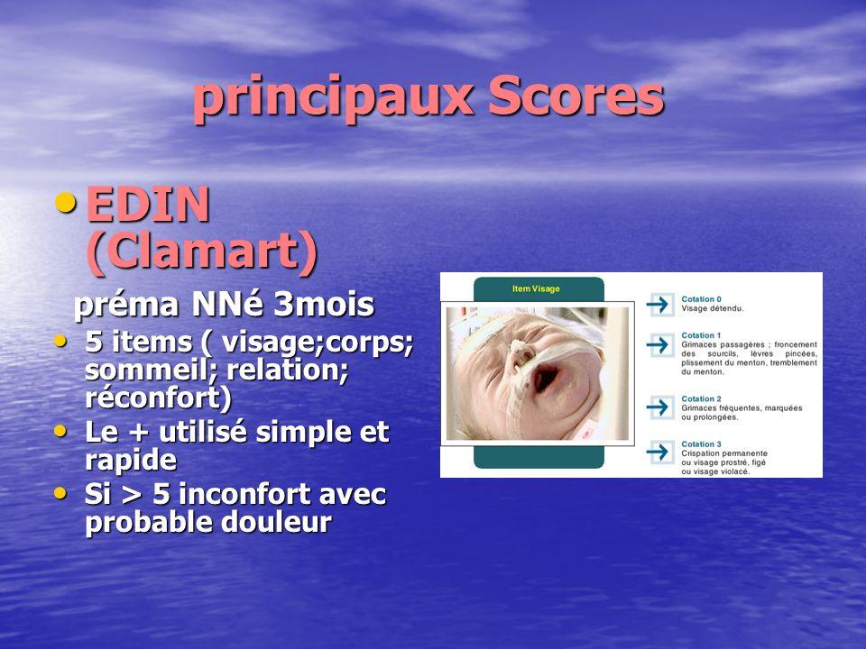 principaux Scores EDIN (Clamart) préma NNé 3mois