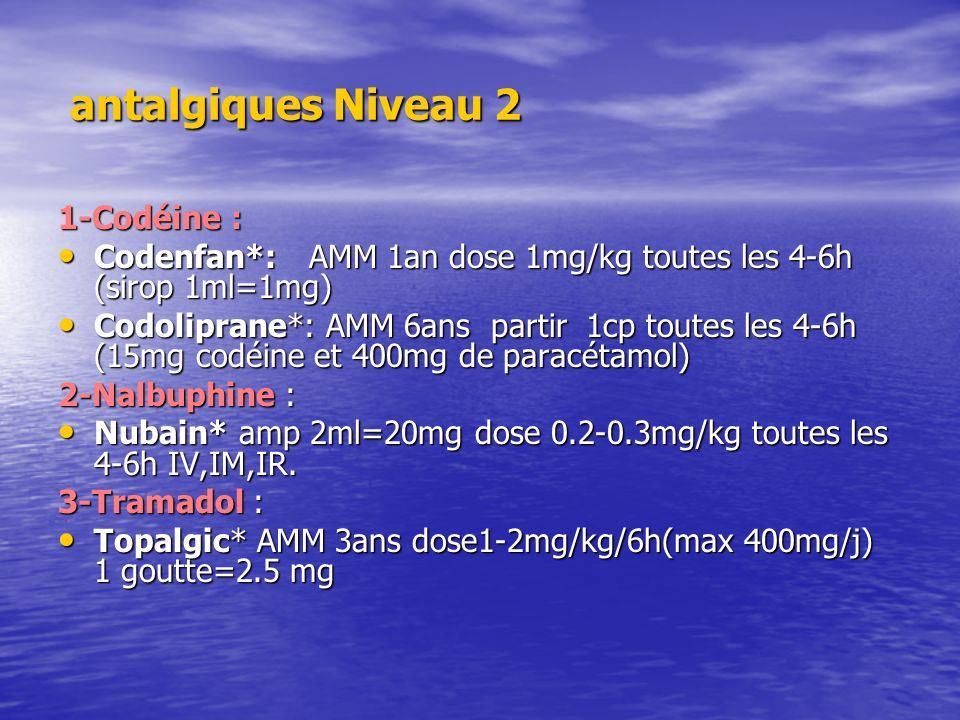 antalgiques Niveau 2 1-Codéine :