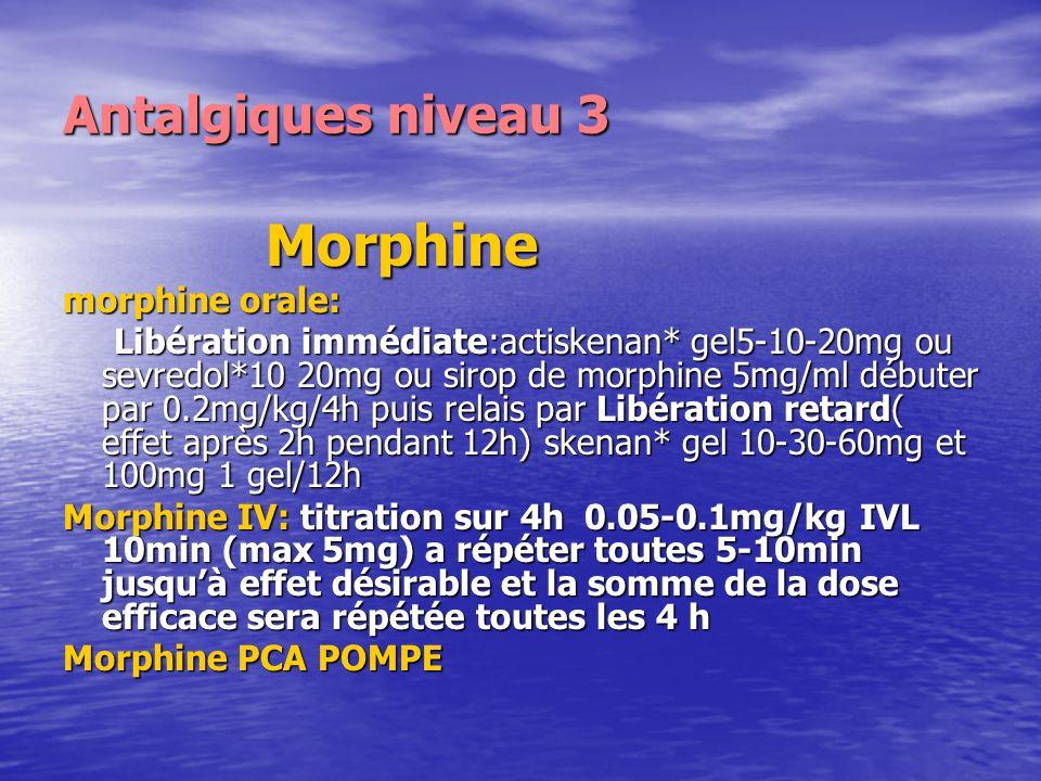 Antalgiques niveau 3 Morphine morphine orale: