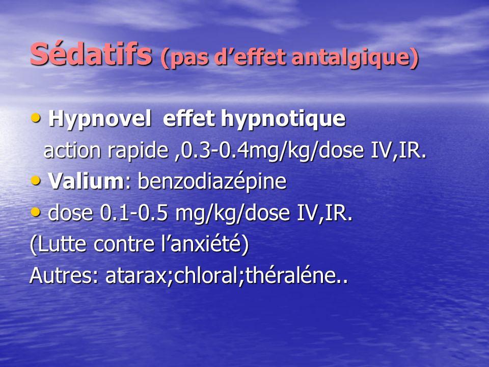 Sédatifs (pas d'effet antalgique)