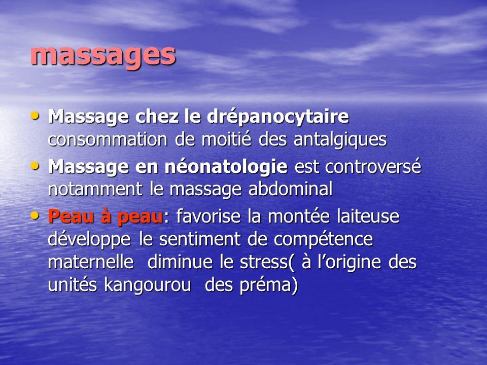 massages Massage chez le drépanocytaire consommation de moitié des antalgiques.