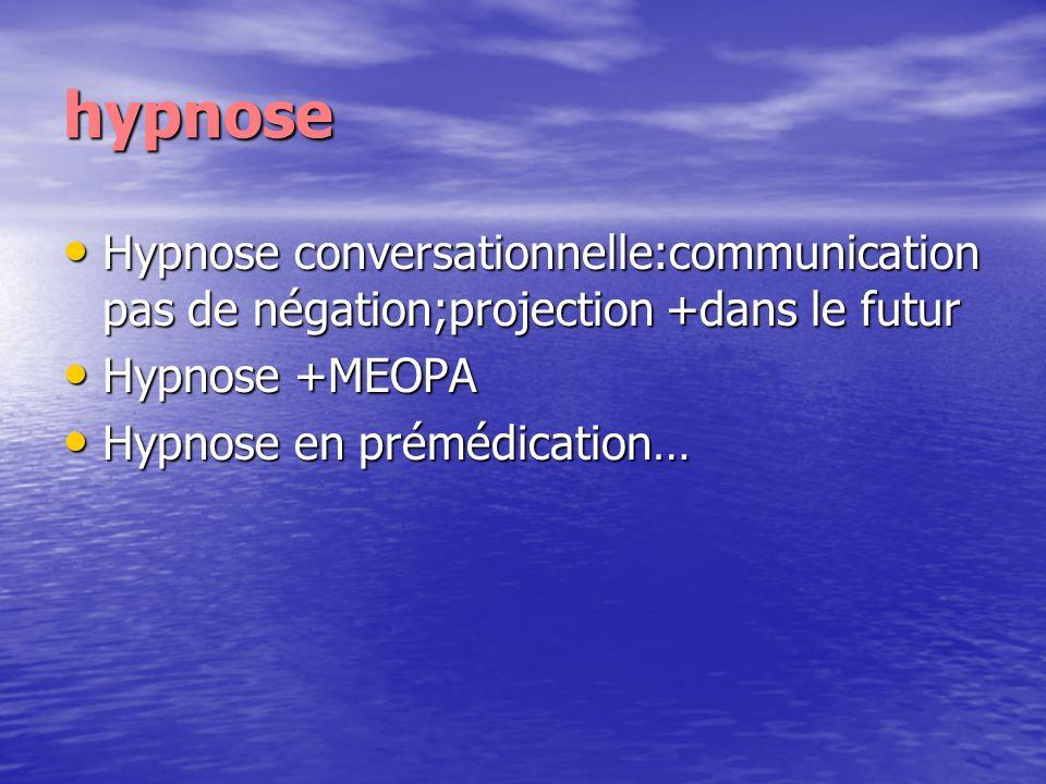 hypnose Hypnose conversationnelle:communication pas de négation;projection +dans le futur. Hypnose +MEOPA.