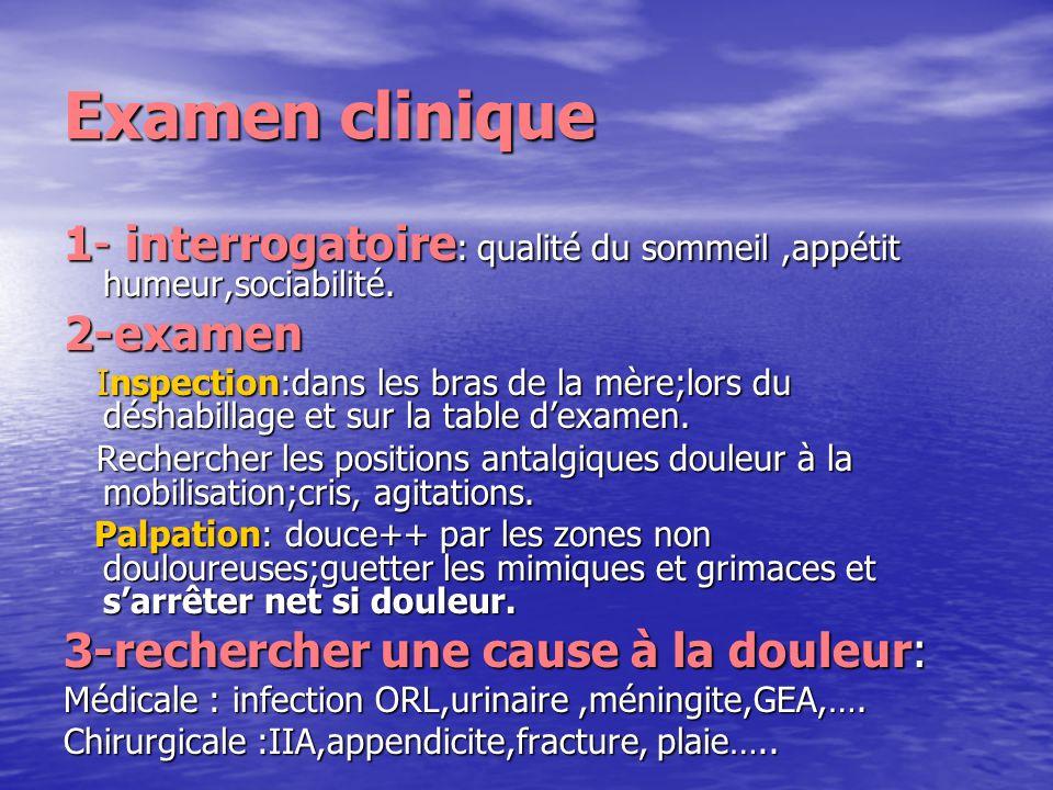 Examen clinique1- interrogatoire: qualité du sommeil ,appétit humeur,sociabilité. 2-examen.