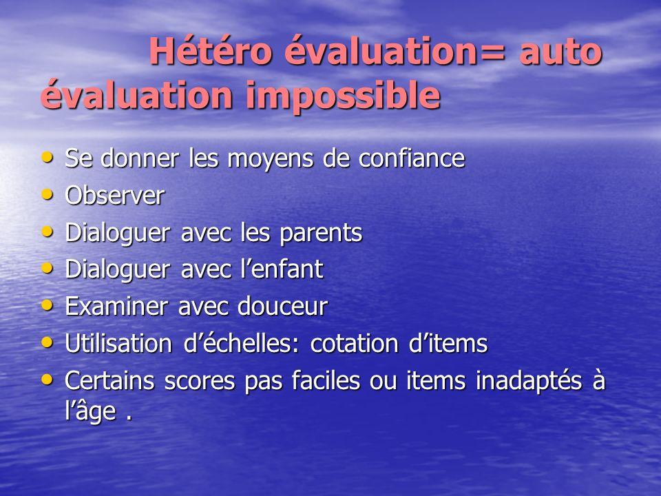 Hétéro évaluation= auto évaluation impossible