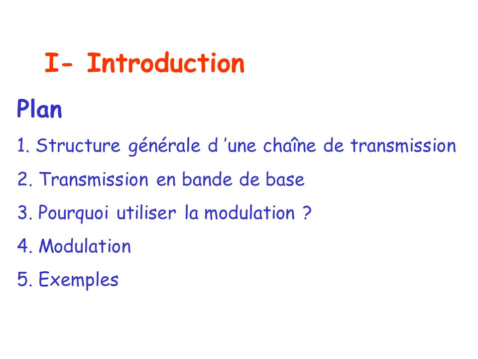 I- Introduction Plan. 1. Structure générale d 'une chaîne de transmission. 2. Transmission en bande de base.