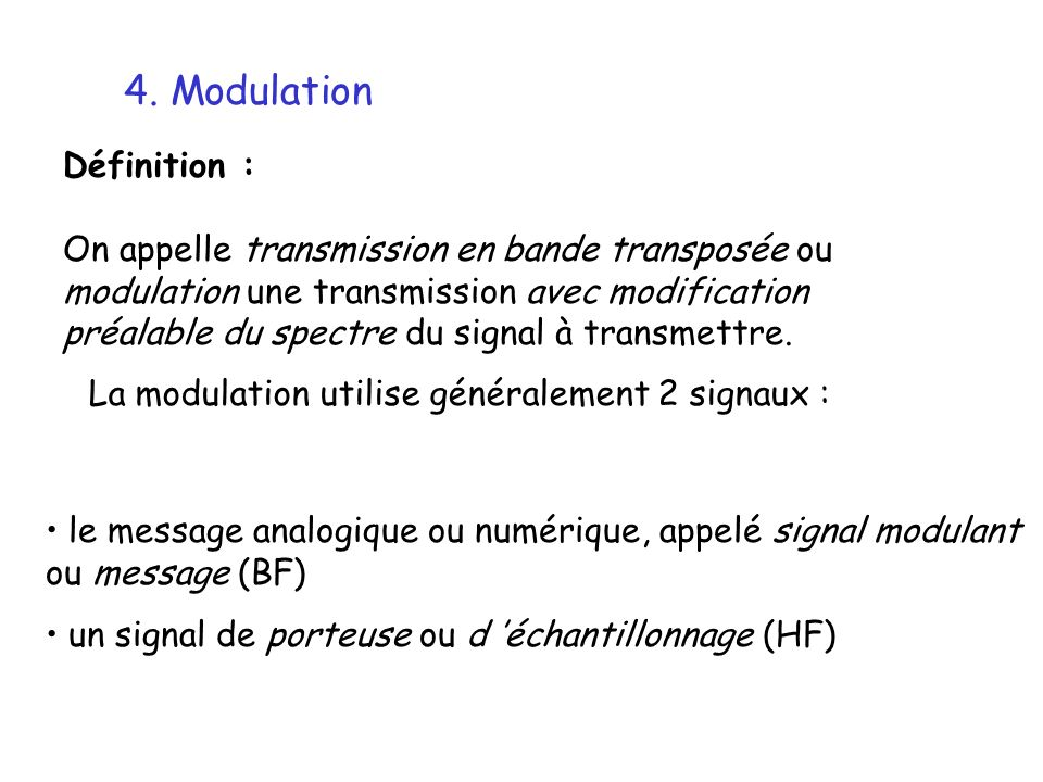 4. Modulation Définition :